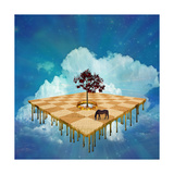 Surreal Checker Field Floats In Sky While Melting Art by  rolffimages