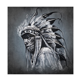 Tattoo Art, Portrait Of American Indian Head Over Dark Background Prints by  outsiderzone