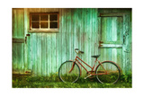 Digital Painting Of Old Bicycle Against Barn Art by  Sandralise