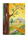 Tree And The Building In The Countryside Prints by  Leks