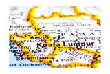Close Up Of Kuala Lumpur On Map, Malaysia Prints by  mtkang