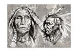 Native American Indian Head, Chiefs, Retro Style Art by  outsiderzone