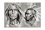 Native American Indian Head, Chiefs, Retro Style Arte por  outsiderzone