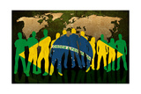 Brazil - Flag Style Of People Silhouettes And World Map Background Prints by  ilolab