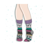 Woman Wearing A Pair Of Wool Socks. Cute Winter Background Premium Giclee Print by cherry blossom girl