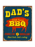 Vintage Metal Sign - Dad'S Bbq Posters par Real Callahan