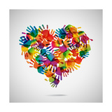 Colored Heart From Hand Print Icons Affiche par  strejman
