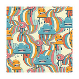 Monsters Modern Seamless Pattern In Retro Style Prints by  incomible