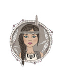 Cute Native American Girl And Feathers Frame Affiches par cherry blossom girl
