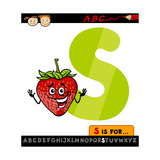 Letter S With Strawberry Cartoon Illustration Poster by Igor Zakowski