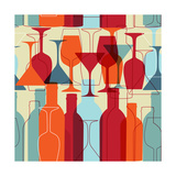 Seamless Background With Wine Bottles And Glasses Prints by  mcherevan