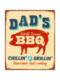 Vintage Metal Sign - Dad'S Bbq Affiches par Real Callahan