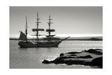 Sailing Ship At Dawn Among The Icebergs In Antarctica Prints by  goinyk