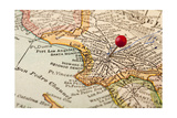 Vintage Los Angeles 1920S Map (Printed In 1926 - Copyrights Expired) With A Red Pushpin Prints by  PixelsAway