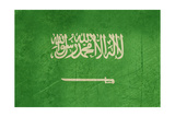 Grunge Sovereign State Flag Of Country Of Saudi Arabia In Official Colors Prints by  Speedfighter
