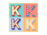 Simple And Clear Flat Lamp Alphabet - Letter K Print by  dgbomb