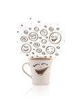 Coffee-Cup With Brown Hand Drawn Happy Smiley Faces, Isolated On White Kunstdrucke von  ra2studio