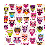 Seamless Colourfull Owl Pattern For Kids Póster por Maaike Boot