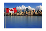 Canadian Flag In Front Of The Beautiful City Of Vancouver, Canada Poster by  Hannamariah