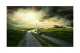 Beautiful View On The Road Under Sky With Clouds Prints by  yuran-78