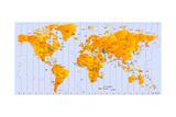 Timezone Map Prints by  rusak