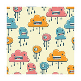 Monsters Modern Seamless Pattern In Retro Style Posters by  incomible