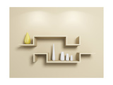 Modeln Shelves With White And Yellow Vases Posters by  rukanoga