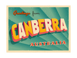 Vintage Touristic Greeting Card - Canberra, Australia Prints by Real Callahan