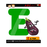 Letter E With Eggplant Cartoon Illustration Posters by Igor Zakowski