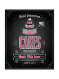 Cakes Poster - Chalkboard Print by  avean