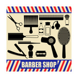 Vintage Barber And Hairdresser Silhouette Set Posters by  radubalint