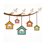 Collection Of Funny Birds In Feeders Hanging By A Branch Art par  graphicsdunia4you