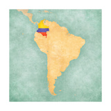 Map Of South America - Colombia(Vintage Series) Premium Giclee Print by  Tindo