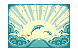 Blue Dolphins Jumping In Sea In Summer Day Prints by  GeraKTV