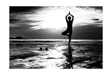Black And White Picture: Young Woman Practicing Yoga On The Beach At Sunset Posters by De Visu