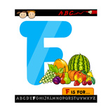Letter F With Fruits Cartoon Illustration Posters by Igor Zakowski
