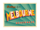 Vintage Touristic Greeting Card - Melbourne, Australia Prints by Real Callahan
