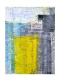 Grey, Teal And Yellow Abstract Art Painting Posters by  T30Gallery