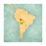 Map Of South America - Bolivia (Vintage Series) Print by  Tindo