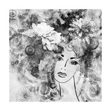 Art Sketched Beautiful Girl Face With Flowers In Hair In Black Graphic On White Background Posters by Irina QQQ