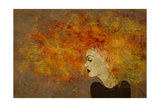 Art Colorful Painting Beautiful Girl Face With Red Curly Hair On Brown Background Art by Irina QQQ