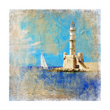 Light House With Yacht- Artistic Painting Style Picture Posters by  Maugli-l
