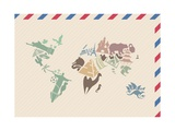 Vintage Envelope With World Map Made Of Landmarks Prints by  kisika