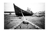 Abandoned Wooden Ship, Still Strapped Prints by Jose AS Reyes