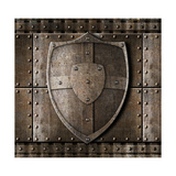 Metal Shield Over Armour Background With Rivets Posters by  Andrey_Kuzmin