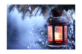 Christmas Lantern With Snowfall,Closeup Posters by Liang Zhang