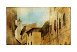 San Gimignano (Tuscany) - Retro Styled Picture Prints by  Maugli-l