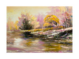 Autumn Landscape With Snow And The River Posters by  balaikin2009