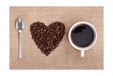 Heart Shape Made From Coffee Beans With A Spoon And Cup Of Coffee On Hessian Spelling I Love Coffee Art by  Flynt
