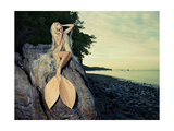 Beautiful Fashionable Mermaid Sitting On A Rock By The Sea Posters by George Mayer